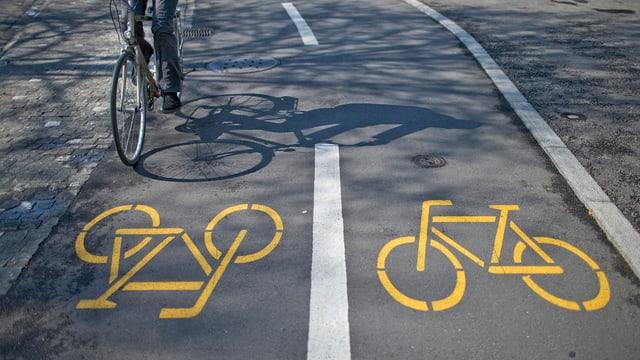 Ein Velofahrer auf dem Fahrradweg.