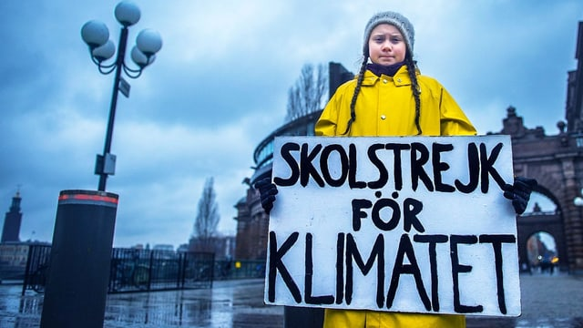 Ein Mädchen mit Zöpfen hält ein Plakat in den Händen. Darauf steht «Schulstreik fürs Klima».