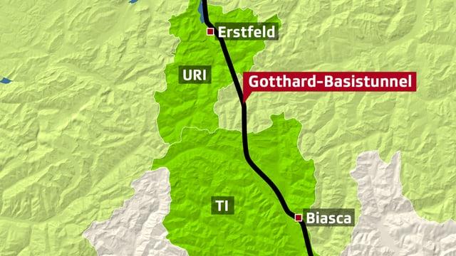 Kartenausschnitt zeigt den Abschnitt zwischen Erstfeld und Biasca