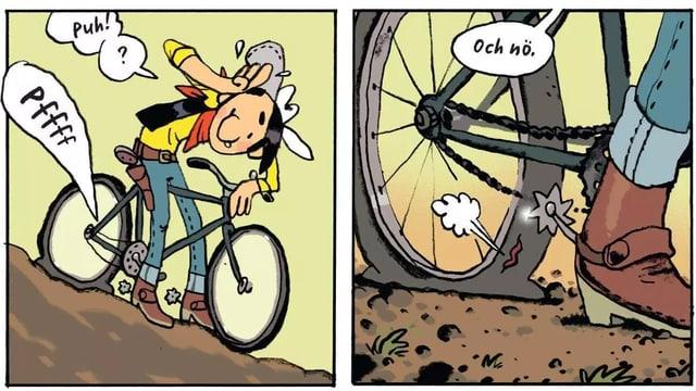 Ein gezeichneter Cowboy auf dem Fahrrad - er hat mit seinen Sporen aus Versehen einen Platten verursacht.