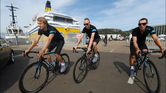 Edvald Boasson Hagen, Christopher Froome und Richie Porte (von links) vom Team Sky.