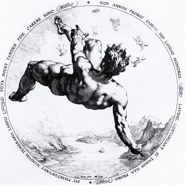 Kupferstich eines fallenden Mannes.