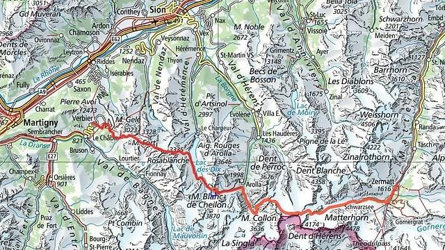 Kartenausschnitt Walliser Alpen mit der Streckenführung der Patrouille des Glaciers
