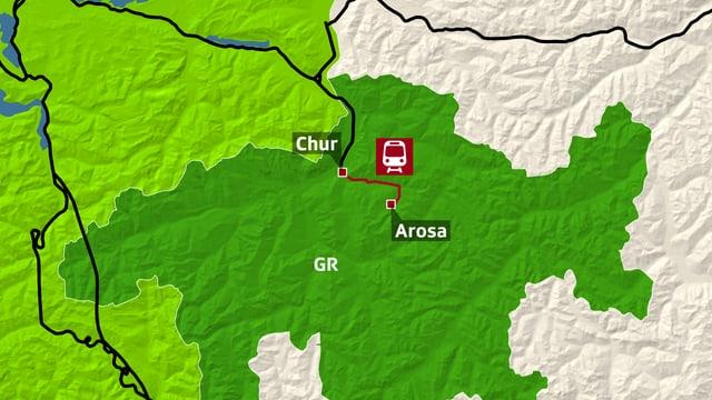 Karte mit Markierung an der Stelle, an welcher der Felssturz stattfand.