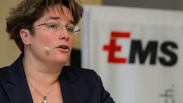 EMS-Chefin Magdalena Martullo-Blocher an einer Pressekonferenz