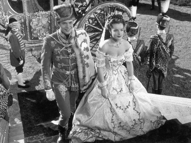 Filmset-Aufnahme von Kaiser Franz an Seite von Sissi.
