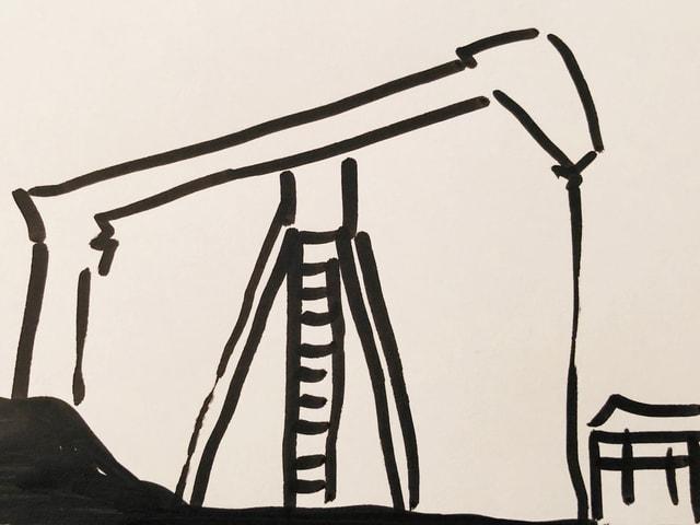 Skizze mit Erdöl-Förderung