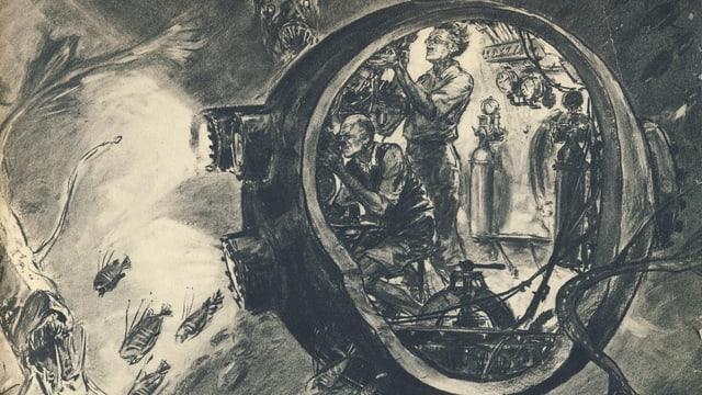 Eine Zeichnung von der Tauchkugel von Professor Auguste Piccards
