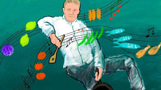 Eine Karikatur von Ivo Adam am kochen.