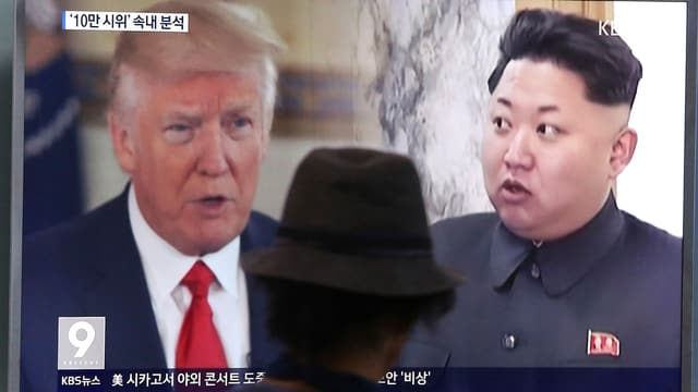 Trump, Kim auf TV-Screen