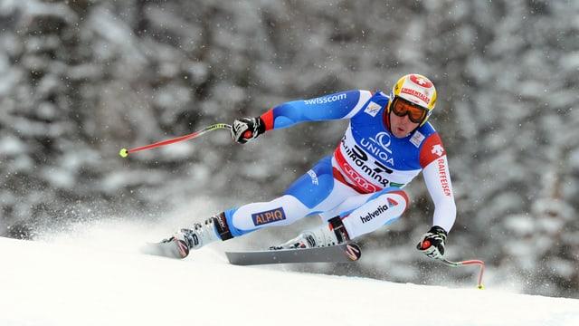 Vitus Lüönd beim Abfahrtstraining an der Ski-WM in Schladming 2013.