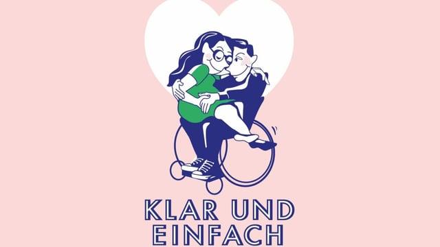 Zeichnung: Zwei Verliebte, Mann sitzt im Rollstuhl, Frau auf seinem Schoss