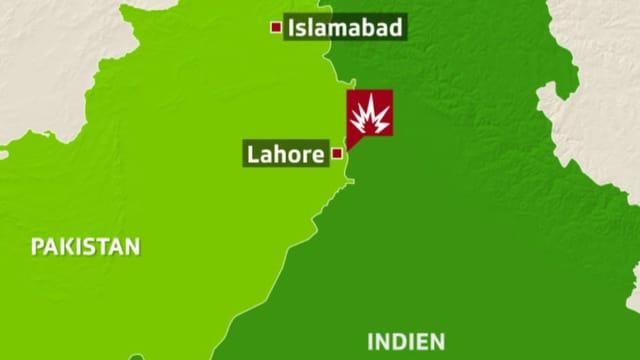 Karte mit Grenzgebiet Pakistan und Indien.