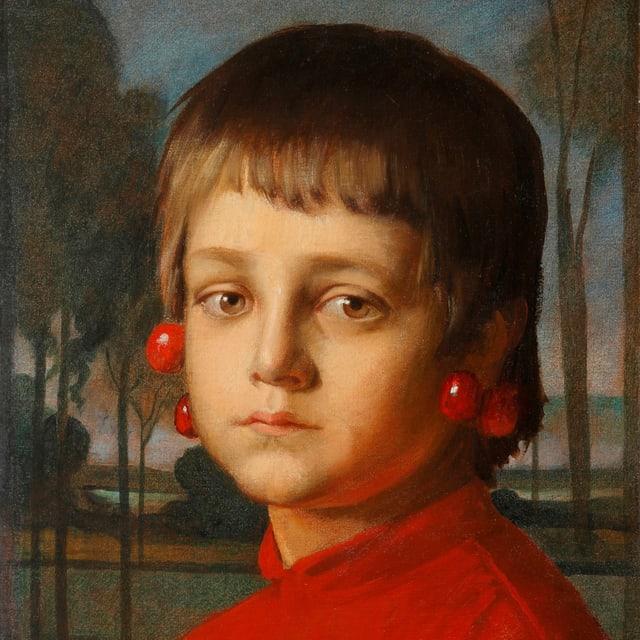 ein Gemälde eines Jungen, mit Kirschen um die Ohren gehängt