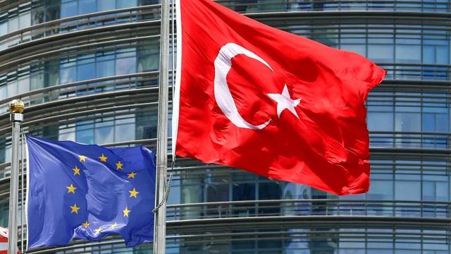 EU- und Türkei-Fahne