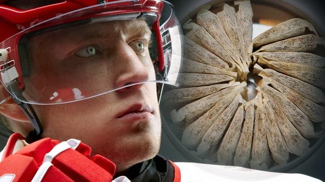 Eishockeyspieler vor einer Dose mit Snus-Säckchen.