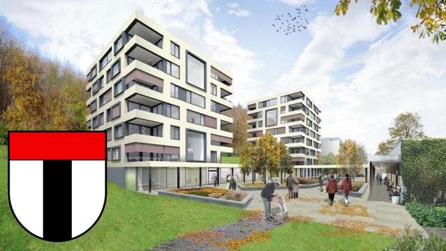 Der Neubau für betreutes Wohnen im Alterszentrum Kehl in einer Visualisierung.