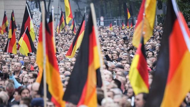 Demonstranten mit Deutschlandfahnen