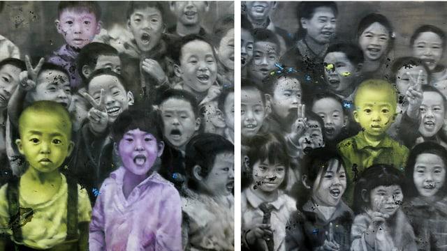 Bild: Asiatisch aussehende Kinder. Die meisten sind schwarz-weiss dargestellt, einige von ihnen violett oder hellgrün.