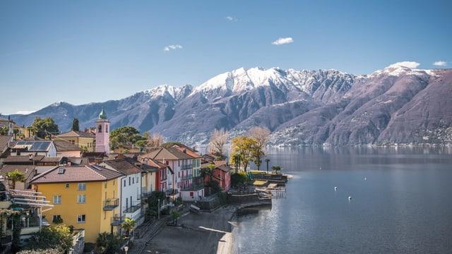 Im Vordergrund Häuser am See. Dahinter Berge mit Schneekappe und darüber blauer Himmel.