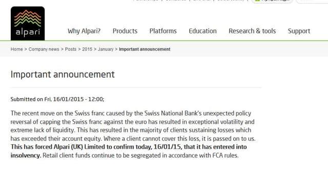Ankündigung der Insolvenz, Text auf Firmenwebseite.