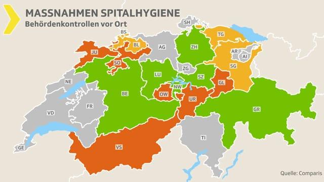 Eine Schweizer Karte mit verschieden eingefärbten Kantonen.