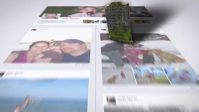 Fotomontage einer Facebook-Timeline mit Grabstein