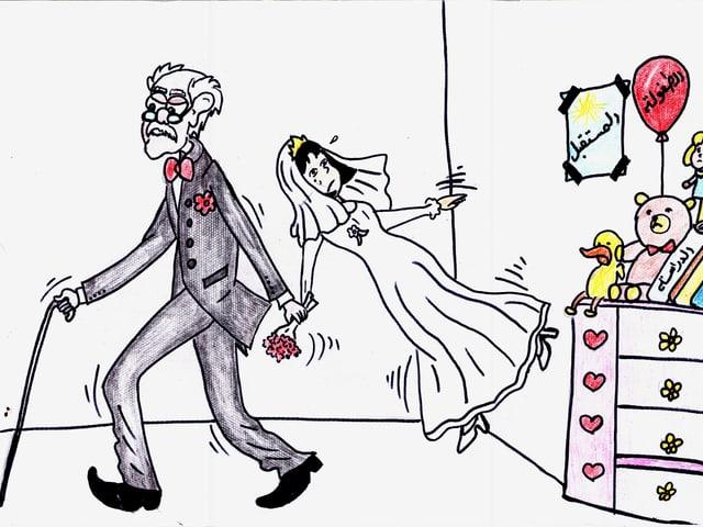 Alter Mann zieht Mädchen als Braut verkleidet aus einem Spielzimmer.