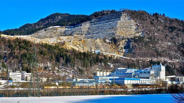 Steinbruch und Fabrik