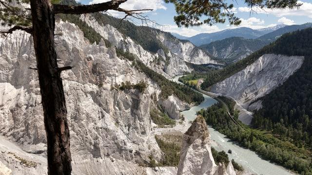 Blick in die Ruinaulta mit den schroffen, hohen Kalkwänden.