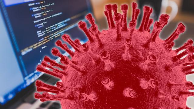 Ein Aidsvirus sitzt vor einem Computerbildschirm und grübelt.
