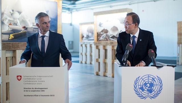 Cusseglier federal Didier Burkhalter è s'inscuntrà a Turitg cun Ban Ki Moon, il secretari general da l'ONU