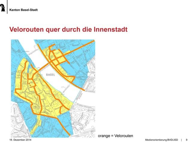 Karte der Innenstadt von Basel mit eingezeichneten Velorouten