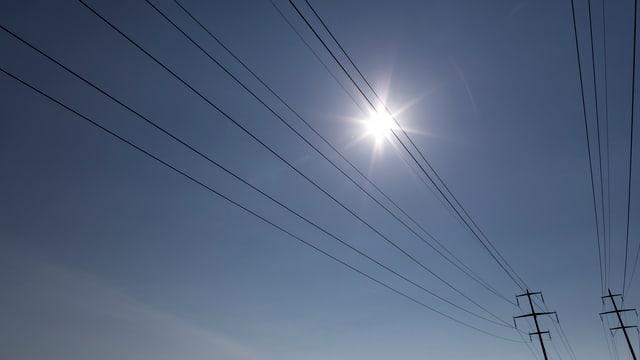 Die Sonne scheint über Stromleitungen