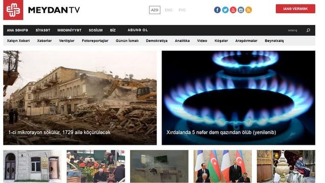 Website des Exilsenders Meydan TV, der die Regierung in Aserbaidschan kritisiert.