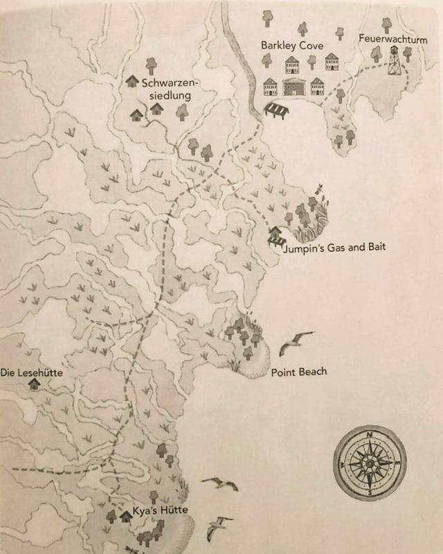 Foto von der Landkarte mit den Romanschauplätzen aus «Der Gesang der Flusskrebse»