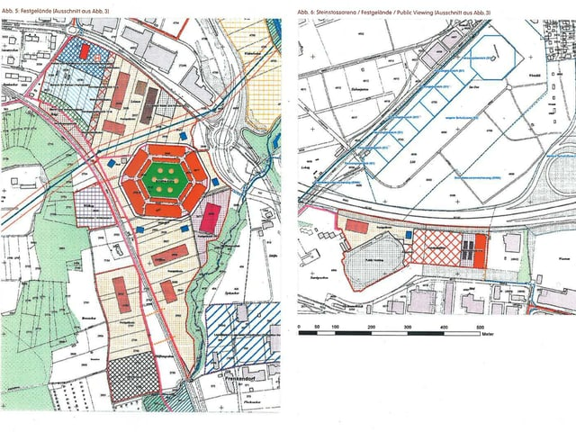 Zwei Karten zeigen, wo das Festgelände liegen würde