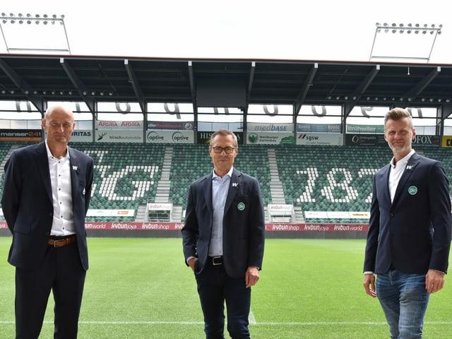 Coach Zeidler, Präsident Hüppi und Sportchef Sutter
