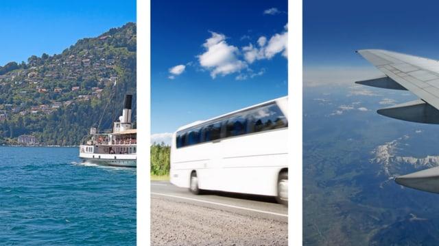 Boot, Bus und Flugzeug