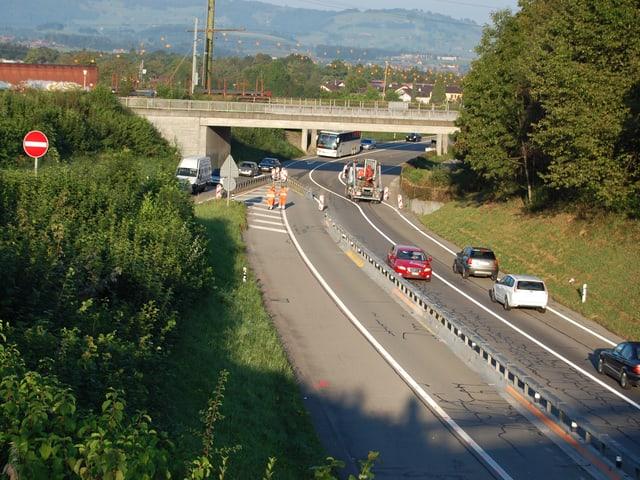 Es wird eng und kompliziert auf dem bisherigen Autobahnzubringer Thun-Nord.
