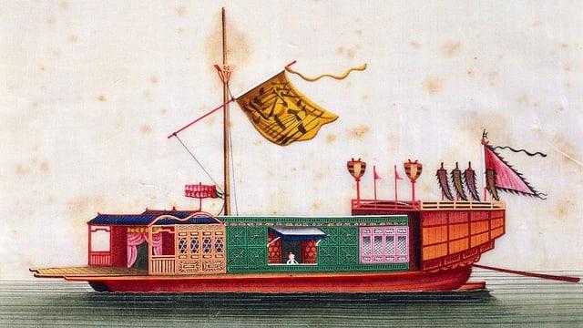 Ein traditionelles chinesisches Schiff mit Fahnen.