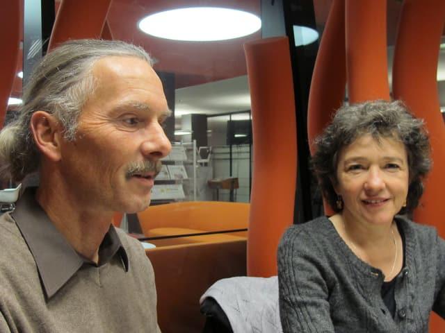 Barny, Dauercamper auf dem Schützenweiher, und Regisseurin Ursula Brunner im SRF-Studio.
