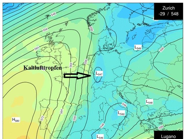Eine Wetterkarte von Europa.
