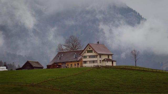 Ein Appenzeller Haus mit Hof auf einem Hügel.