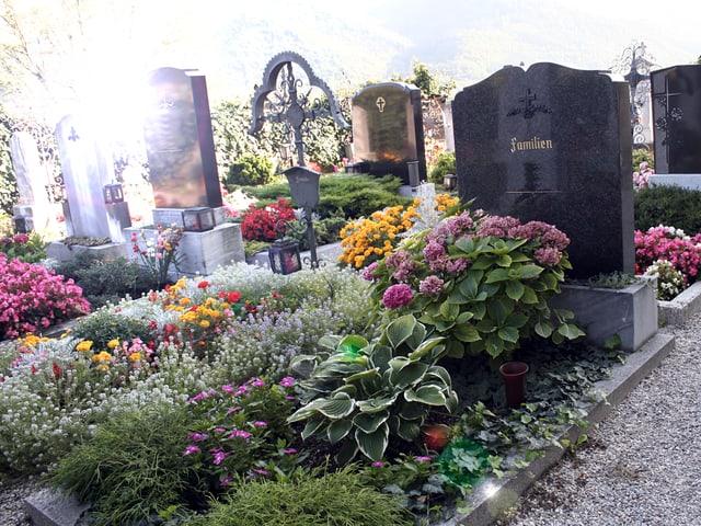 Ein üppig bepflanztes Familiengrab mit Grabstein.