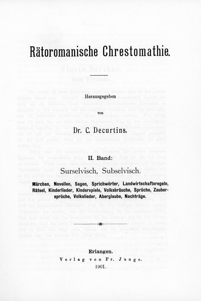 Volum 2 da la Crestomazia retorumantscha da Caspar Decurtins (1855 - 1916)