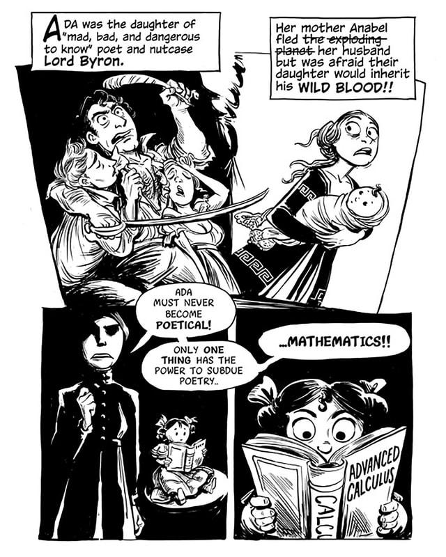 Comic: Ein Mann vergnügt sich mit mehreren Frauen. Eine Mutter mit Baby wendet sich ab und gibt dem Kind ein Mathematikbuch.