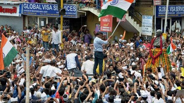 Demonstranten in Dew Delhi