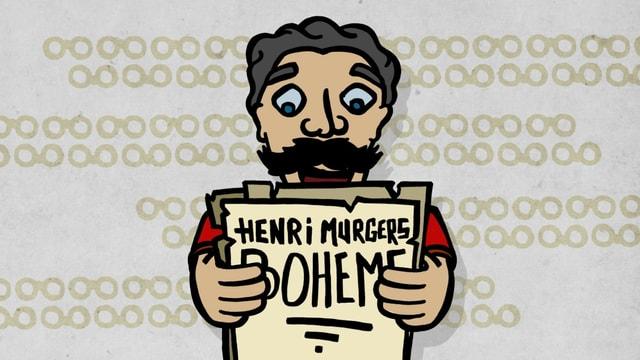 Zeichnung von Puccini, der einen Text in den Händen hält, darauf zu lesen: Henry Murgers Bohème.