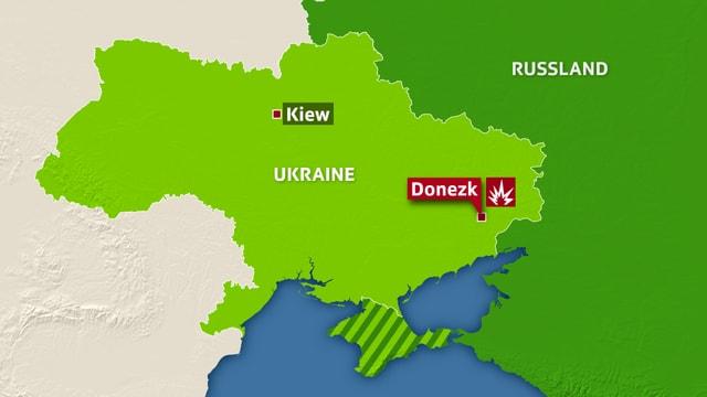 Karte der Ukraine, eingezeichnet sind Kiew und Donezk.